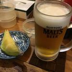 壱番館 - 生ビール(400円)、サービスメロン