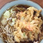 57100975 - かき揚げそば ¥380                       天ぷらは安定の品質、甘さのないキレの良いつゆとマッチングする肉厚のかき揚げはいい
