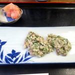 八王子総合卸売センター 市場寿司 たか - 即興の鯵の塩なめろう炙り500円