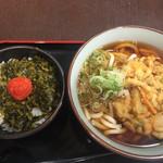 57146695 - 明太子高菜ご飯、かき揚げうどんセット