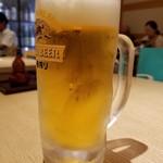 蕎麦六本 - 一番搾りジョッキ生(626円)