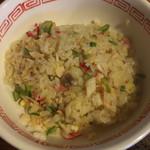 れんげ食堂 - Cset(ワンタン麺+半炒飯+唐揚2個) ¥850 の半炒飯