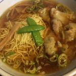 れんげ食堂 - Cset(ワンタン麺+半炒飯+唐揚2個) ¥850 のワンタン麺