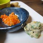 味噌屋 鎌倉 Inoue - 人参の酢味噌和え、インゲンの胡麻ソース和えアップ