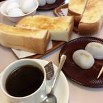 喜与女茶寮 - 「モーニング・サービス」(370円:コーヒー代のみ)。まあ標準的。(きよめ餅は別売り)