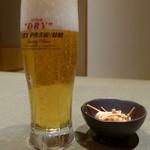 銀座 佐藤養助 - ビールにはうどんを揚げたものが出ました