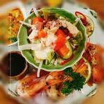 Itarian Dining Carbo - 料理写真:前菜6種盛り(甘エビ、ホタテのカルパッチョ、ラザニア、カボチャのソテー、牛肉、スモークサーモン、サラダ)