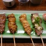 もつ鍋と炭火串焼き もつ粋 - おまかせ串五串(っ˘ڡ˘ς)