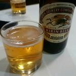 焼き鳥中森 - キリンラガーで乾杯