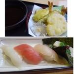 57212789 - *天ぷら・・海老や蓮根などが盛合されていますね。衣は硬め。                       *握りは「イカ」「鮪」「間八」「山芋」・・見た目通りの味わいです。シャリは1貫以外は残しました。