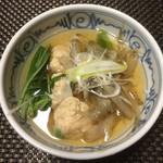 松濤館 - 鶏団子鍋 (冊切り やさい、薬味、ラーメン)