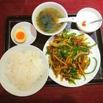 栄華楼 - 牛肉とピーマンの細切り炒め定食♥ (~▽~@)♪♪♪