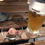 丸秀鮮魚店 - 生ビールとお通し