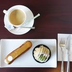 パティスリー アタッシェ - 料理写真:エクレール・オ・キャラメル、球磨、コーヒー