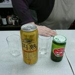 三喜屋酒店 - 私の発泡酒と彼女の梅酒。手はカウンター内のおばちゃんの手です。