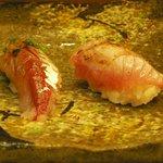 松鮨 - 地魚寿司(あじ、黒ムツ炙り)