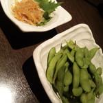 AJITO - 枝豆・380円 / 梅水晶・490円
