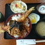 寿し若 - えび穴子天丼 800円(税別)