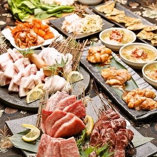 生マッコリ付/名物極厚牛タン&炙り肉寿司,焼肉堪能コース