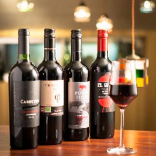 充実した「ワインリスト」「グラスワイン」