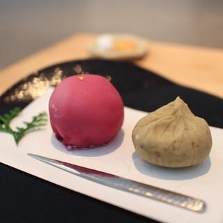 餅匠 しづく - 料理写真:フランボワーズ大福 & 栗茶巾☆