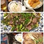 居酒屋久茂地 - お初。遅い晩御飯は、付き出しのもずく天と色白なポテサラでスタート。続いてイカ天ぷらは沖縄ではソースでいただきます。 メインはがちゅんのタタキ。めあじのことらしいにポン酢がかかっている珍しいタタキです。 泡盛でいただきながら、締めは中味汁をいただきました。 満足のご馳走様でした。
