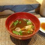 鮨まるばつ - 海老の味噌汁
