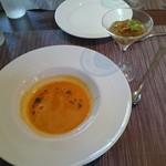 57363647 - かぼちゃのスープと海老のゼリー寄せ