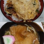 屋島 - かき揚丼、きつねうどん