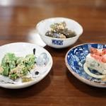 あそび割烹 さん葉か - 前菜  菜豆腐 スナップエンドウの胡麻和え 胡瓜と茄子の和え物