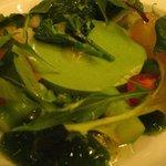 ラ・ロシェル - 春の菜の花のムースゼリーに、魚介(真鯛・ホタル烏賊・小海老・サーモン)を飾り三郷のプティサラダ