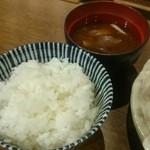 Kushiagedokoromikushi - 定食のご飯と味噌汁(2016.10)