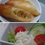 花筏 - ◆共通 上:春巻き・・揚げたてですし具材のお味付もいいですね。調味料を付けず、そのまま頂いても美味しい。 下:野菜サラダ・・ポテトサラダも入っています。