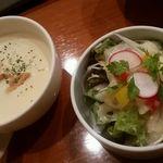 57427352 - スープとサラダ