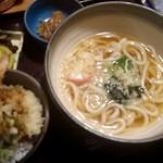 日本海庄や - 海老天丼とうどんのセット
