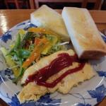 いちご畑 - サラダ、トースト、オムレツ(モーニング)