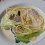 嵯峨野湯 - クリームパスタ(お豆腐パスタ ランチセット)