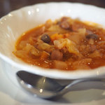 ひばり珈琲 - サンドイッチセットのサラダが寒い季節はミネストローネに