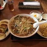 toukamura - サンマーメン・半チャーハン・杏仁豆腐+餃子