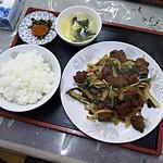 鳳飯店 - ニラレバ定食800円