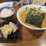 むつみ屋 - 味噌ラーメン(白みそ)+餃子セット_2016/10