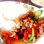 タイ料理 サバイサバイ - 料理写真:今まで食べたなかで最強ガパオライス✨ バッカバオムーカイダォダーカオ✨