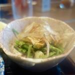 辻本屋 - [2016/10]馬刺し定食(1400円)・この山菜のおひたしは美味しいです。