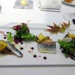 57488589 - ランチコース:前菜 炙り秋刀魚と色々キノコのマリネ