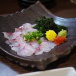 桃の木 - 料理写真:ほうぼうのうす造り~☆