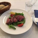 57524137 - 広島の和牛ステーキ(130g)プラスPaccioA(自家製パン・紅茶)(1296円税込)16.7月