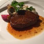 六本木ヒルズクラブ - 牛フィレ肉のパンフライ マスタードソース                             アーティーチョークのフリット ポテトニョッキ 彩り野菜添え