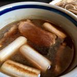 あゆ川手打そば - 焼き鴨・焼き葱入り  熱々つけ汁