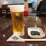 57589566 - ちょい呑みプラン1100円のビール&海苔の佃煮(2016年10月)