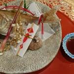 ホテルはつはな - 料理写真:小鯛祝い焼き   稲穂  赤飯も添えて〜〜♪